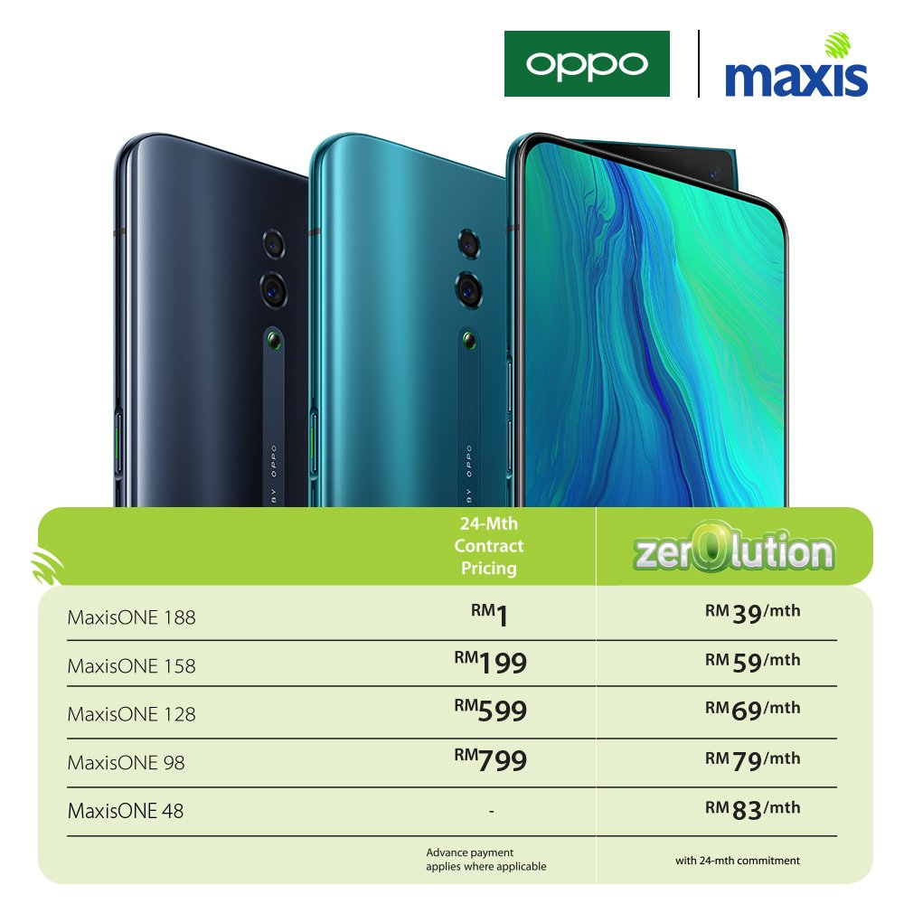 OPPO Reno Now Available for RM1 on MaxisOne and Zerolution