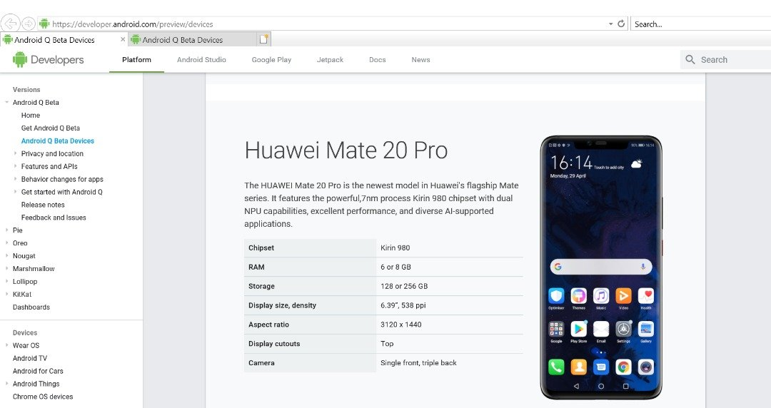 Google Takes A Sharp Right To Relist Huawei Mate 20 Pro Under Android Q Beta Program 10