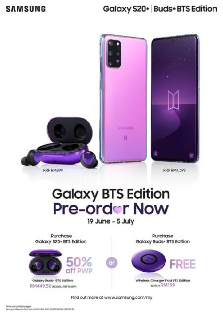 Samsung Galaxy S20 Bts Edition And Galaxy Buds Now Official Priced At Rm4 399 And Rm899 Respectively The Axo