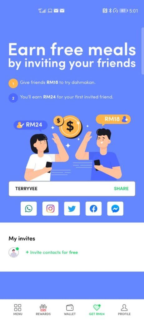 Dahmakan app share