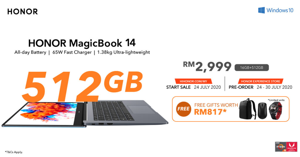 Honor MagicBook 14 With 16GB RAM + 512GB SSD To Arrive On 24 July For RM2,999 6