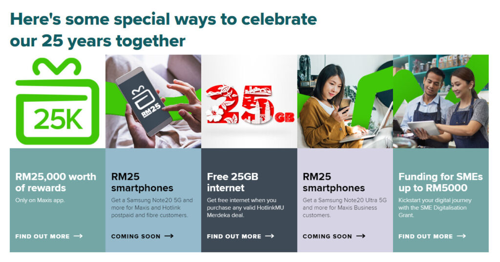 Maxis 25th Anniversary Celebration Offers Promotions And Deals - Rewards And RM25 Smartphones! 5