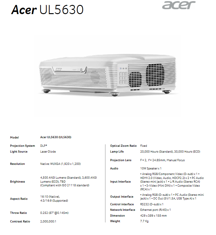 Acer Launches New LED And Laser Projectors For Both Work And Play 9