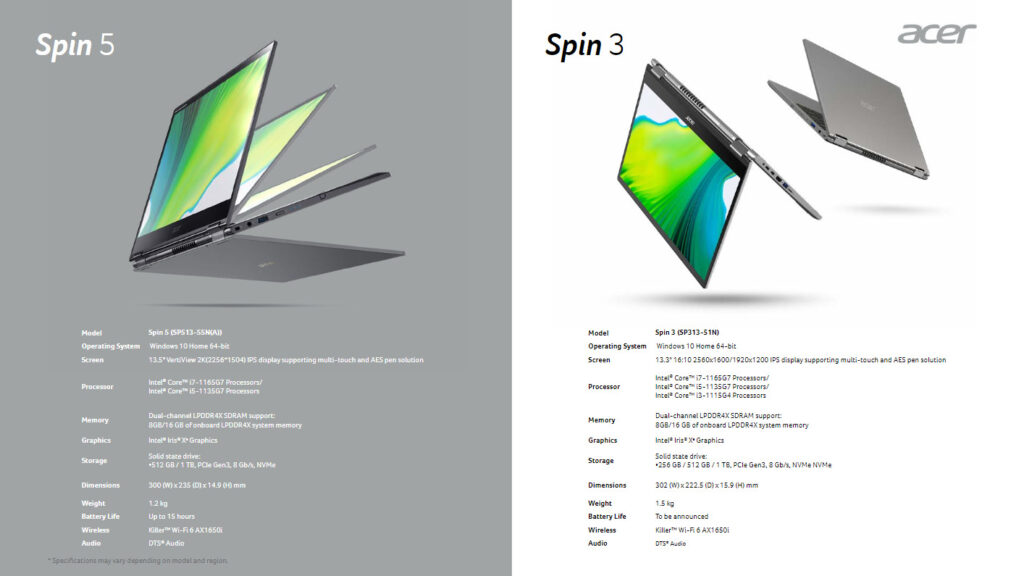 Acer Spin 3 And 5