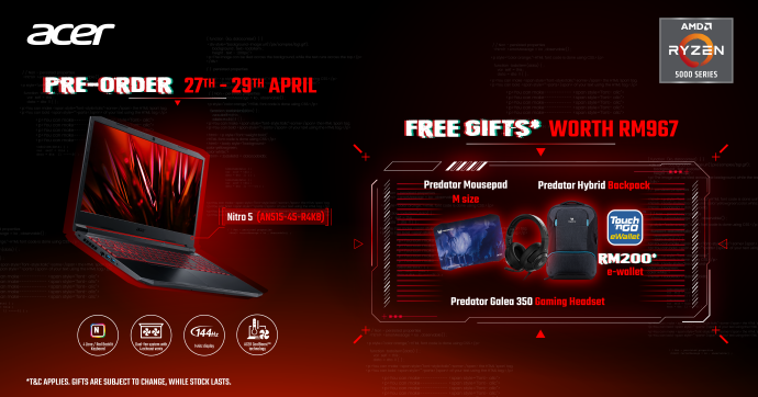 Acer Nitro 5 AMD Launched With Nvidia RTX 3000 Series From RM3,699; Nitro QG1 Monitor Debuts For RM749 14