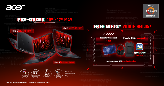 Acer Nitro 5 AMD Launched With Nvidia RTX 3000 Series From RM3,699; Nitro QG1 Monitor Debuts For RM749 15