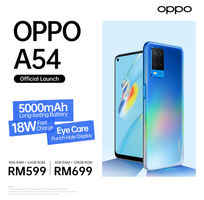 OPPO A54 Launched In Malaysia For RM599; Features 5,000mAh Battery With 18W Fast Charging 10