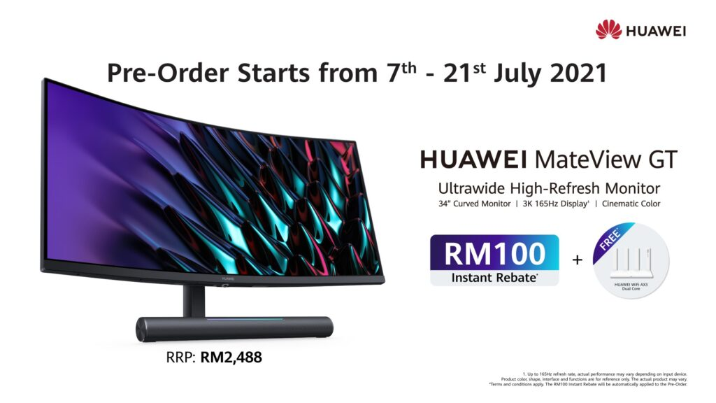 Pre-Order The HUAWEI MateView and MateView GT Now for an instant rebate of RM 100 and freebie worth RM 199 8