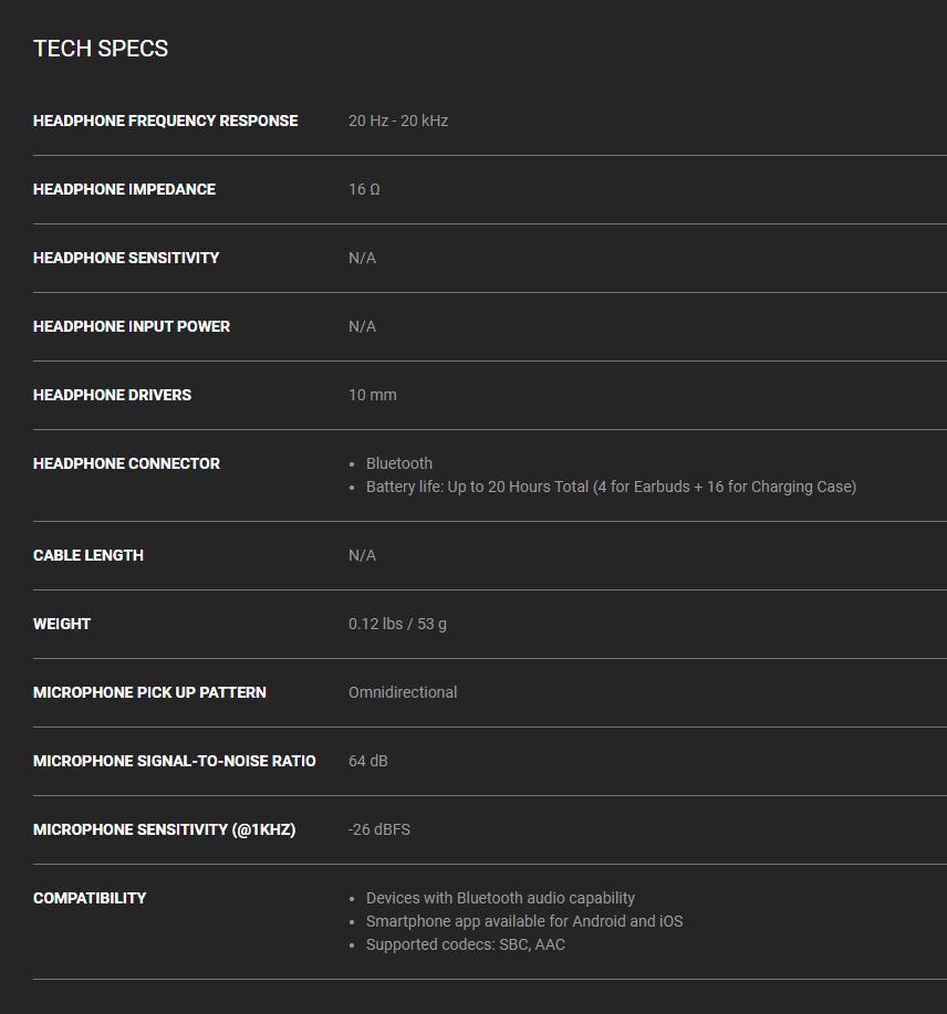 Razer Hammerhead True Wireless Pro tech specs
