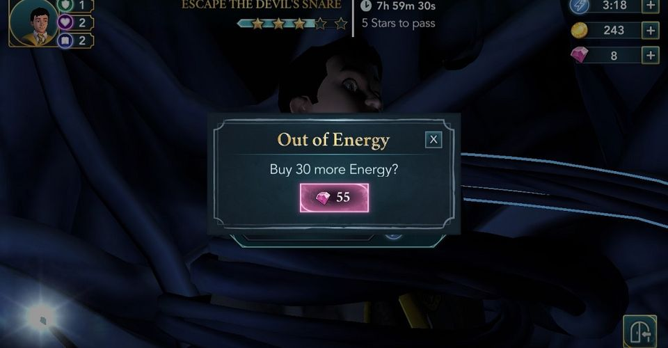 Free-to-play game Harry Potter selling energy to keep playing the game